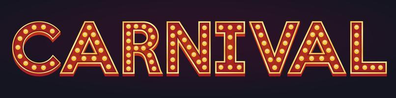 CARNAVAL banner alfabet teken lichttoog gloeilamp vintage