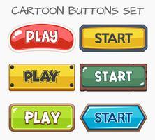 Cartoon knoppen instellen spel. Vectorillustratie