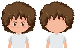 Jongen met en zonder gezicht vector