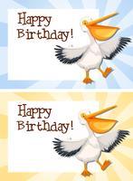Set van pelikaan op verjaardag sjabloon vector
