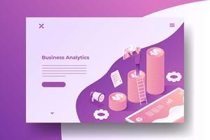 Isometrische bedrijfsgroei illustratie