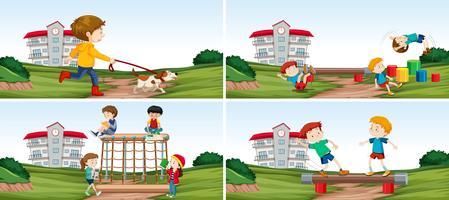 Set van student op speelplaats vector