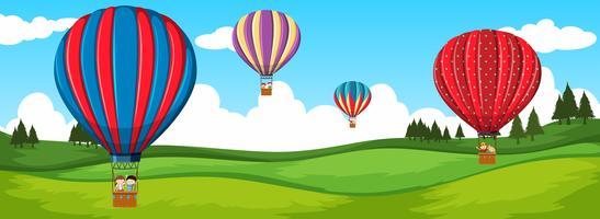 Reis met een heteluchtballon vector