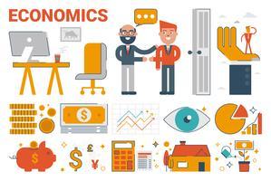 Economie infographic elementen en pictogrammen