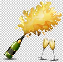 Fles champagne drinken vector