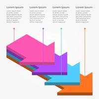 Platte 3D-infographic met pijl vector sjabloon