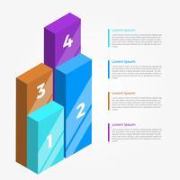 Plat kleurrijke 3D Infographic Vector sjabloon