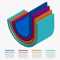 Platte 3D kleurrijke Infographic Vector sjabloon