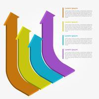 Platte 3D Infographic pijl Vector sjabloon