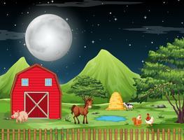Boerderij bij nachtscène