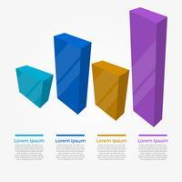 Platte 3D balken Infographic elementen Vector sjabloon