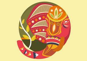 Decoratieve geschilderde olifant vectorillustratie