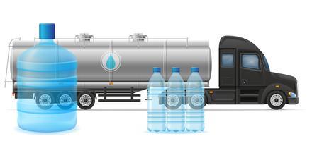 levering van de vrachtwagen de semi aanhangwagen en vervoer van de gezuiverde vectorillustratie van het drinkwaterconcept