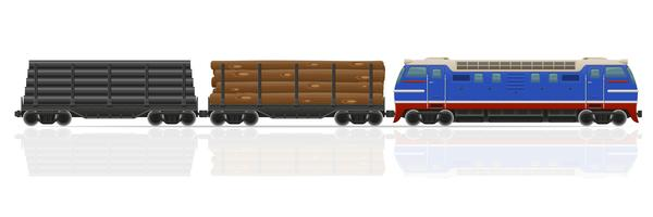 spoorwegtrein met locomotief en wagens vectorillustratie
