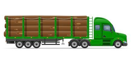 vrachtwagen oplegger levering en transport van bouwmaterialen concept vectorillustratie
