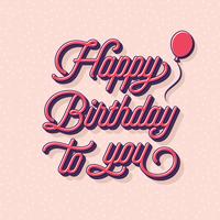 Gelukkige verjaardag typografie wenskaart