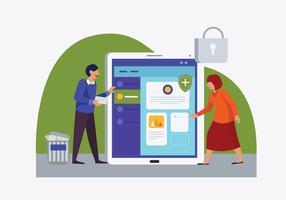 Ontwikkeling van Online Cyber Security Vector Flat Illustratie