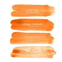 De oranje waterverf van de borstelslag op witte achtergrond. Vector illustratie.