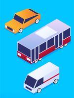 Verbazingwekkende isometrische vervoer illustratieset vector