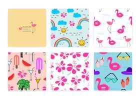 Set van naadloze patroon met zomer concept. Achtergrondillustraties voor cadeaupapierontwerp.