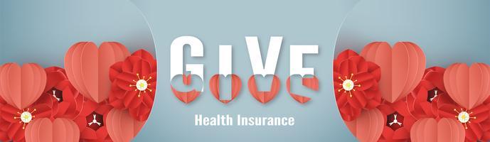 Vectorillustratie in concept ziekteverzekering. Sjabloonontwerp is op pastel blauwe achtergrond in 3D-stijl papier knippen.