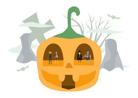 Minimale scène voor Halloween-dag, 31 oktober, met monsters die dracula, pompoenman, frankenstein, kat omvatten. Vectorillustratie geïsoleerd op witte achtergrond vector