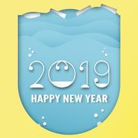 Gelukkige Nieuwjaar 2019 decoratie op blauwe achtergrond. Vectorillustratie met kalligrafieontwerp van aantal in document besnoeiing en digitale ambacht. vector
