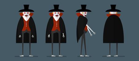 Karakterontwerp van dracula voor Halloween-dag, 31 Oktober, Vectorillustratie die op donkerblauwe achtergrond wordt geïsoleerd. vector
