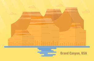Arizona in de oriëntatiepunten van de VS voor het reizen met het Nationale Park van Grand Canyon, berg en water. Vectorillustratie met kopie ruimte en gloed van licht op gele en oranje achtergrond. vector