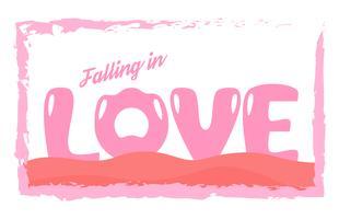 Slogan ontwerp in liefde concept voor reclame, t-shirt, dekking, banner, sjabloon, kleding en brochure. Vectorillustratie in plat ontwerp met roze kleuren.