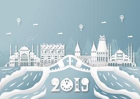 03 april 2019: Top beroemde bezienswaardigheid en gebouw van het land van Turkije voor reizen en rondreizen. Vector illustratieontwerp in gesneden document en ambachtstijl op blauwe achtergrond.