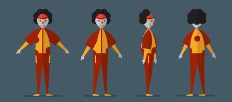 Karakterontwerp van jokerspook voor Halloween-dag, 31 Oktober, Vectorillustratie die op donkerblauwe achtergrond wordt geïsoleerd. vector