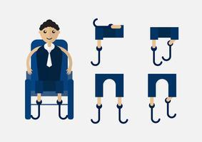 Karakterontwerp van onbruikbare persoon die de bedrijfsmens met blauwe doek op wielstoel is. vector