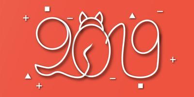 Gelukkig Nieuwjaar 2019 met op rode achtergrond. Vectorillustratie met kalligrafieontwerp van aantal in document besnoeiing en digitale ambachtstijl. vector