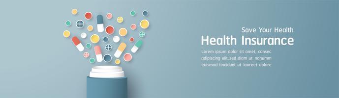 Vectorillustratie in concept ziekteverzekering. Sjabloonontwerp is op pastel blauwe achtergrond voor dekking, webbanner, poster, diapresentatie. Art Craft voor kinderen in 3D-papierstijl.