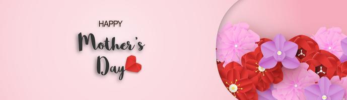Sjabloonontwerp voor gelukkige moederdag. Vector illustratie in gesneden papier en ambachtelijke stijl. Decoratieachtergrond met bloemen voor uitnodiging, dekking, banner, reclame.