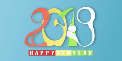 Gelukkig Nieuwjaar 2019 met op blauwe achtergrond. Vectorillustratie met kalligrafieontwerp van aantal in document besnoeiing en digitale ambachtstijl. vector