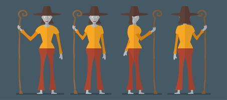 Karakterontwerp van heks voor Halloween-dag, 31 Oktober, Vectorillustratie die op donkerblauwe achtergrond wordt geïsoleerd. vector