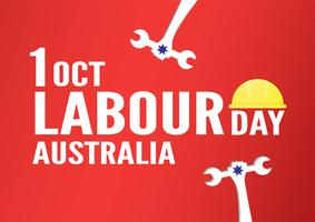 Bannerachtergrond voor Dag van de Arbeid, Austratlia, in 1 oktober. Vectorillustratie in papier knippen en digitale vaartuigen. vector