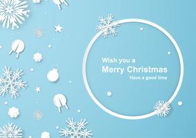 Kerstdecoratie op blauwe achtergrond in papier knippen en ambacht met sneeuwvlok. vector