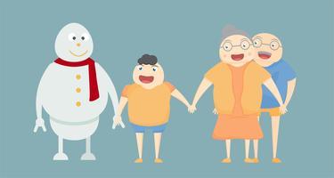 Sneeuwman en menselijk familieportret op blauwe achtergrond voor Vrolijke Kerstmis op 25 December. geluk van het leven.