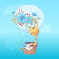 Illustratieprentbriefkaar of amulet voor een kinderkamer - leuke giraf in een ballon, vectorillustratie in beeldverhaalstijl
