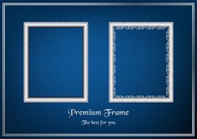 Witte afbeeldingsframe op blauwe achtergrond met kleurovergang.