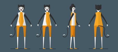 Karakterontwerp van kattengeest voor Halloween-dag, 31 Oktober, Vectorillustratie die op donkerblauwe achtergrond wordt geïsoleerd. vector