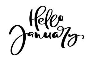 Hallo Hand getrokken belettering zin januari. Inkt borstel belettering voor winter uitnodigingskaart voor kalender. Handgeschreven zin voor banner, flyer, wenskaart vector