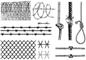 Prikkeldraad en touwtjespakket vector