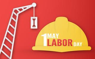 Happy Labor Day op 1 mei van jaren. Sjabloonontwerp voor banner, poster, dekking, advertentie, website. Vector illustratie in papier knippen en ambachtelijke stijl op rode achtergrond.