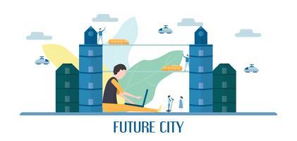 Toekomstige mensen in stedelijke gebouwen met blauwe lucht en wolken. Vectorillustratie met vlakke stad in papierstijl knippen. Trend van mijlpaal voor het centrum van de wereld en het grote land.
