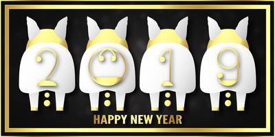 Vectorillustratie voor Gelukkig nieuw jaar 2019. Het is het jaar van het varken. Abstracte sjabloon met gouden ontwerp voor de ceremonie het einde van het jaar.