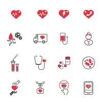 Hart medische zorg pictogrammen. Gezondheidszorg en technologie concept. Nood- en bloeddonatieconcept. Illustratie vector verzameling set. Teken en symboolthema.